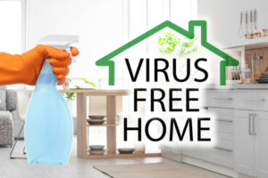 "Photo of spray bottle and words ""Virus Free Home"""